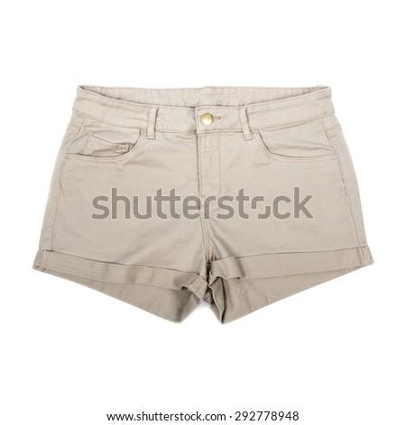 Women's Khaki Shorts Isolated on White - stock photo
