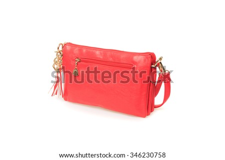 Women's leather bag on a white background