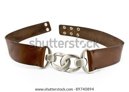 Women's leather belt isolated on white - stock photo