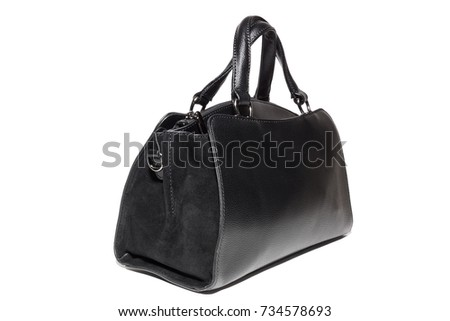 women's leather handbag in black, Studio, still life photography
