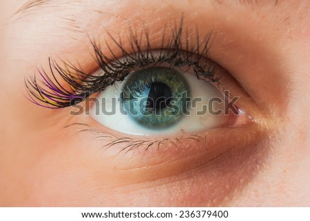Women's Open eyes from close up - stock photo