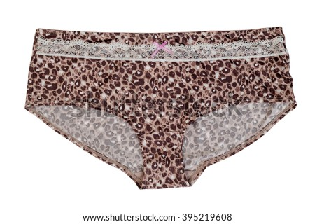 Women's panties with leopard pattern. Isolate on white. - stock photo