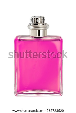 women's perfume in beautiful bottle isolated on white - stock photo