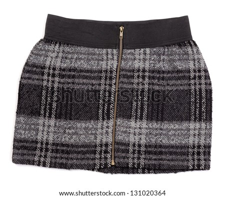Women's plaid short skirt isolated on white