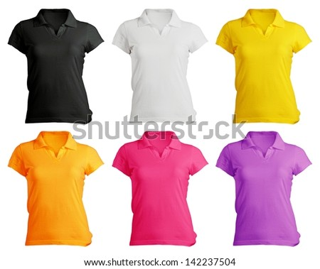 women's polo shirt template in colors - stock photo