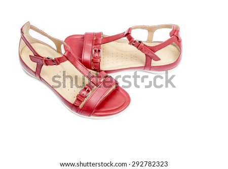 Women's Red Leather Sandals Isolated on White