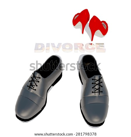 Women's shoes and men's shoe, symbol photo for separation, divorce and conflict. - stock photo