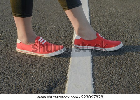 Women's shoes and Near with white lines. The starting concept.