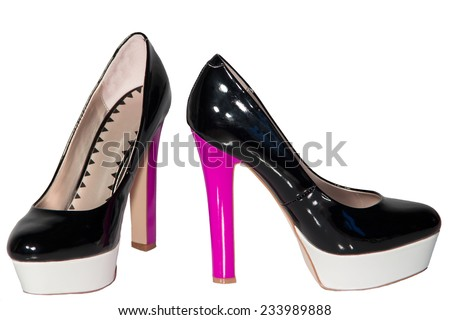 Women's shoes black patent leather pink high heel sole white isolated background one pair - stock photo