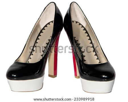 Women's shoes black patent leather red high heel sole white isolated background one pair - stock photo