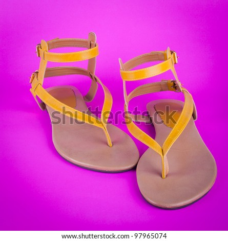 Women's shoes isolated on Pink background - stock photo
