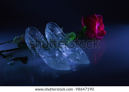 Women's shoes with a reflection on the glass on a black background - stock photo