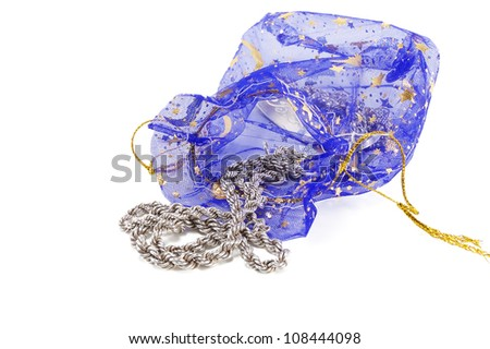women's silver chain with a package on a white background