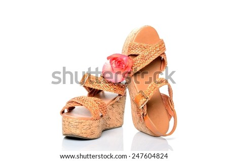 Women's summer shoes, braided sandals orange, decorated with rose