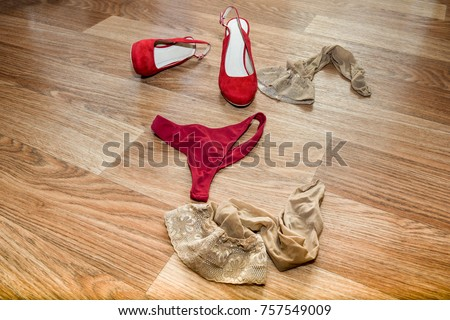 Bra and Underwear On Floor