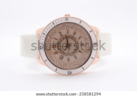 women's watches with diamonds on a white background - stock photo