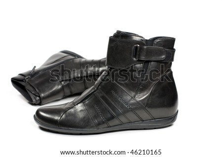 Women's winter boots in black isolated on a white background