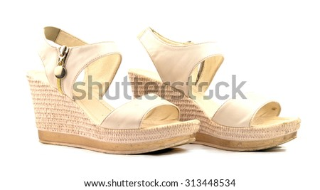 women sandals isolated on white - stock photo