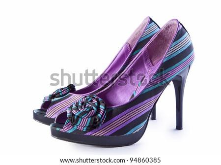 women shoes isolated on white background - stock photo