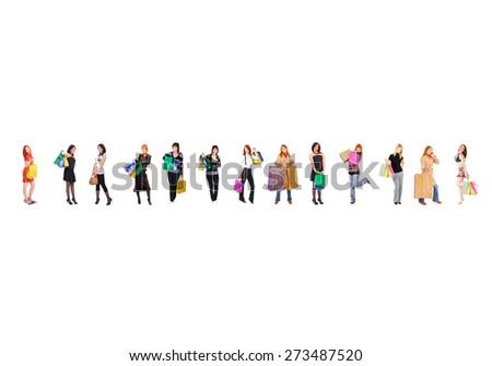 Women Shopping Crowd of Shoppers  - stock photo