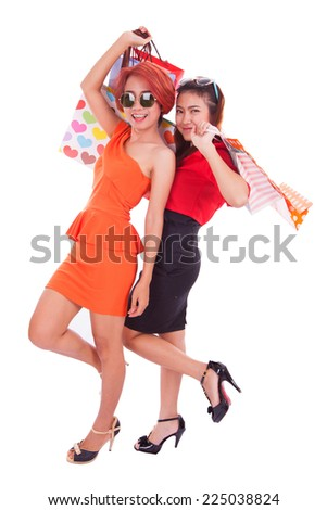 Women shopping on white background.