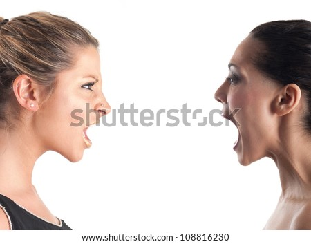 Women shouting each other against white background. - stock photo