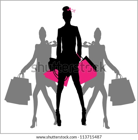 Women silhouette with shopping bag