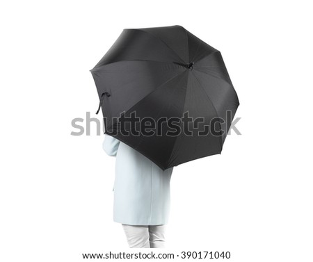 Women stand backwards with black blank umbrella opened mock up isolated. Female person hold grey clear umbel overhead. Plain surface gamp mockup. Man holding protective accesory gingham cover handle. - stock photo