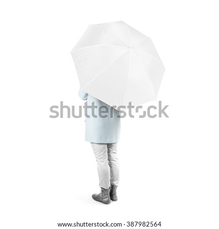 Women stand backwards with white blank umbrella opened mock up isolated. Female person hold clear umbel overhead. Plain surface gamp mockup. Man holding protective accesory gingham cover handle. - stock photo