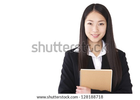 Women suit with a notebook - stock photo