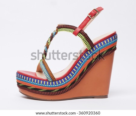 women summer colorful shoe isolated