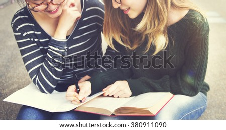 Women Talking Friendship Studying Brainstorming Concept - stock photo