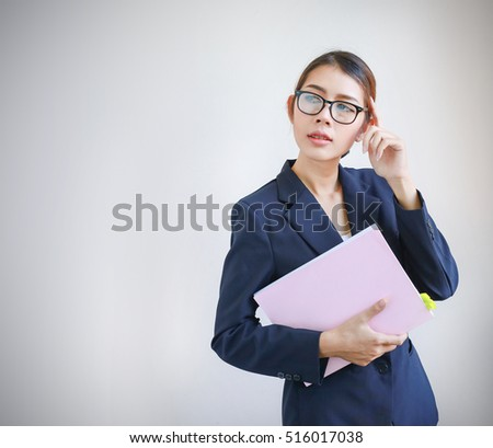 Women thinking ,Women show hand, Young girl beautiful headache businesswoman, asian businesswoman on background, girl portrait of headache shirt black suit formal polite . Business Girl Studio,