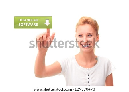 Women touching download software screen on white background - stock photo