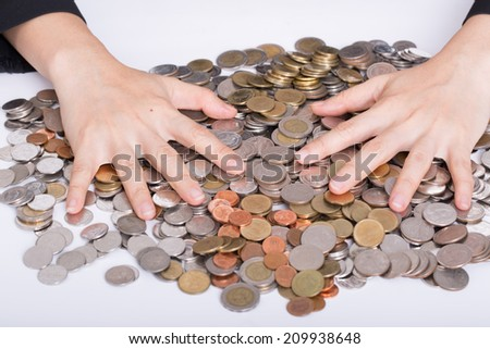 Women use hands for cover her money with safe moeny to invest in future - stock photo