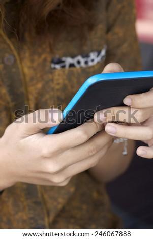 women using smart phone - stock photo