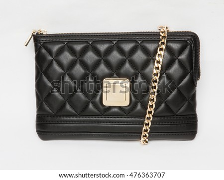 women very elegance  leather black bag isolated