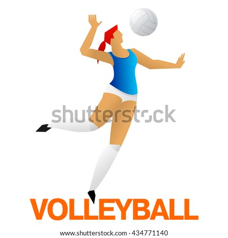 Women volleyball player sign. The girl makes a jump ball pitch. Vector sport pictogram flat  Illustration. Branding Identity Corporate logo design template. Isolated on a white background