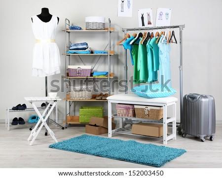 Women wardrobe in blue tones - stock photo