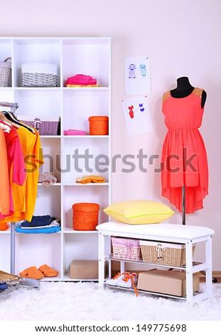 Women wardrobe in sunny colors - stock photo