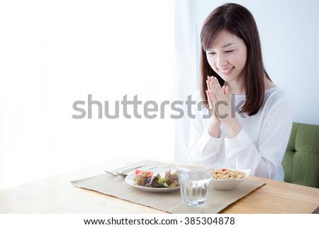 Women who eat breakfast, Let's eat - stock photo