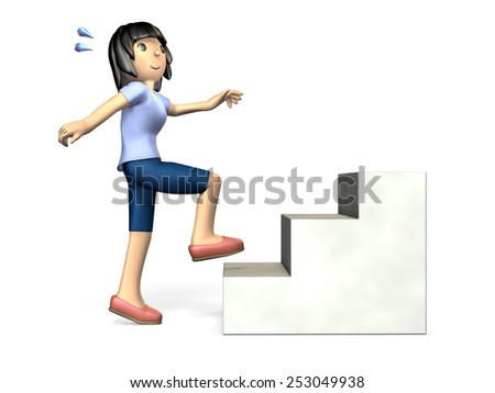 Women who exercise on the stairs.isolated. computer generated image. - stock photo