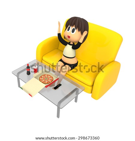 Women who rejoice in pizza - stock photo