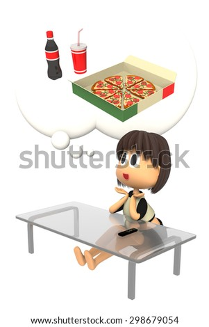 Women who want to eat a pizza - stock photo