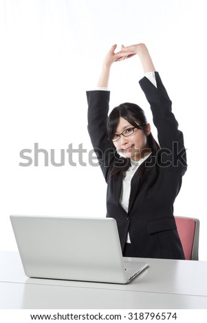 Women who work in the laptop , Businesswoman , stretch