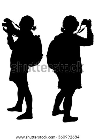 Women with a camera on white background - stock photo