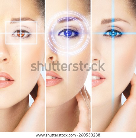 Women with a digital laser hologram on their eyes (ophthalmology, eye surgery and identity scanning technology concept)