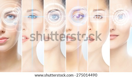 Women with a digital laser hologram on their eyes (ophthalmology, eye surgery and identity scanning technology concept) - stock photo