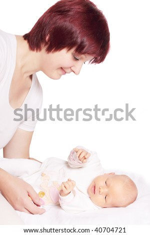 women with baby isolated on white - stock photo