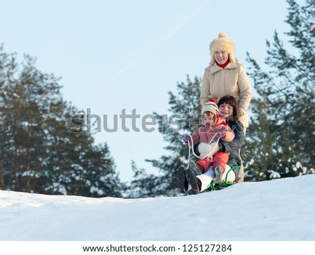 Women with child doing downhill on sleigh in winter park - stock photo
